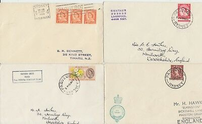 1958-64 lot of 4 x Sydney Australia Paquebot covers - Centaur Oriana