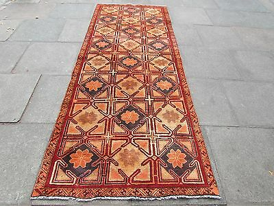 Old Hand Made Traditional Persian Oriental Wool Brown Red Long Rug 292x116cm
