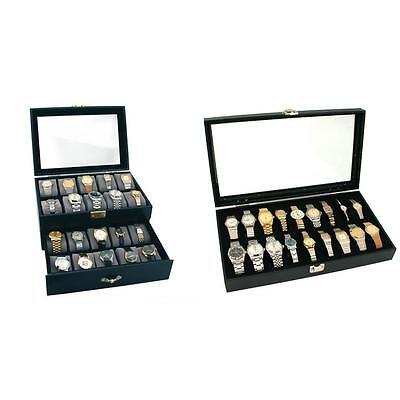 Lockable Glass Top Faux Leather Watch Jewelry Display Cases 20 & 18pc Kit 2 Pcs