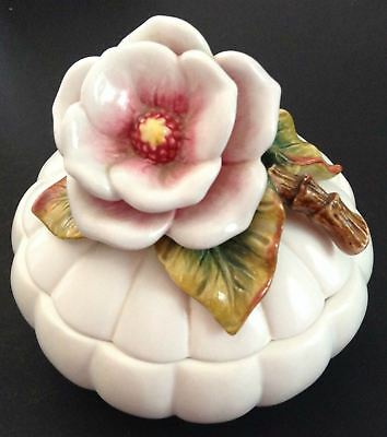 Fitz and Floyd Magnolia Lidded Box Dish Bowl Floral Flowers Ladybug