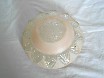 Vintage art deco  frosted pink glass ceiling shade light shade