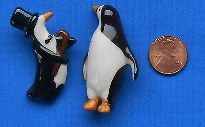 "Two Vintage Porcelain hand made Penguin Pins. 2"" Tall. Used"