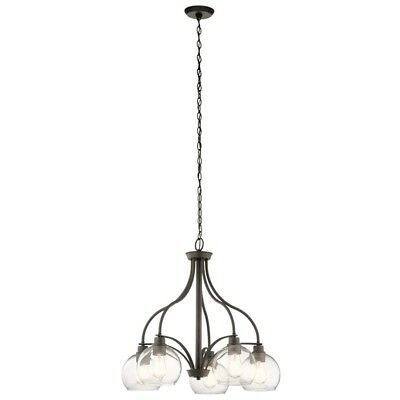 Metal 5-Light Candle-Style Chandelier Clear Glass Shades Olde Bronze Finish