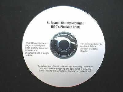 CD ~ 1930's St. Joseph County Michigan Plat Map Book