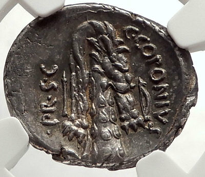 Roman Republic POMPEY the GREAT Army Ancient 49BC Silver Coin NGC Ch AU i66910