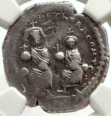 HERACLIUS & Son H CONSTANTINE Ancient 613AD Silver Byzantine Coin NGC i66912