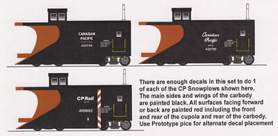 N FN-322 Canadian Pacific Snowplow Decals by Highball Graphics CP Rail
