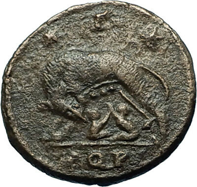 CONSTANTINE I the GREAT 330AD Romulus Remus WOLF Rome Ancient Roman Coin i66457