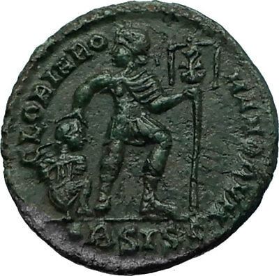 VALENTINIAN I w Chi-Rho Ancient 364AD Authentic Roman Coin w CAPTIVE i66461