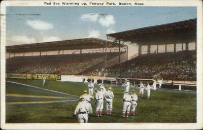 Boston Red Sox Warming Up Fenway Park 1916 Used Postcard