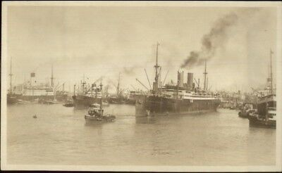 Buenos Aires Foreign Ships in Harbor c1910 Real Photo Postcard - Amateur