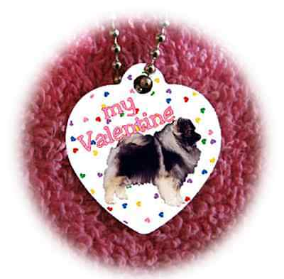 """Keeshond Dog heart necklace 24"""" chain Valentine NEW"""