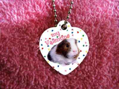 "Guinea Pig heart necklace 24"" chain Valentine"