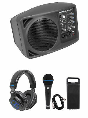 Mackie SRM150 Powered PA Monitor Speaker SRM-150+Headphones+Mic+Cable+Case
