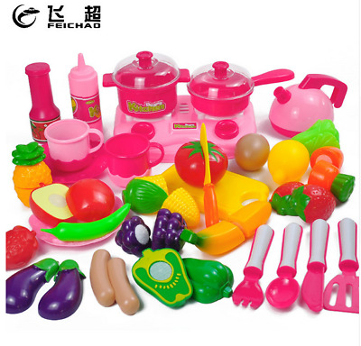 34 Pieces Children's Kitchen Play House Toys Fruit and Vegetable Slices Boy Girl