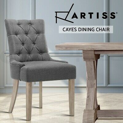 CAYES Dining Chair Linen Fabric French Provincial Wood Retro Kitchen GREY