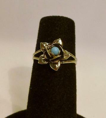 Pretty Vintage Silver Tone Adj. Ring With A Flower & Blue Bead Inside. Size 6-7.