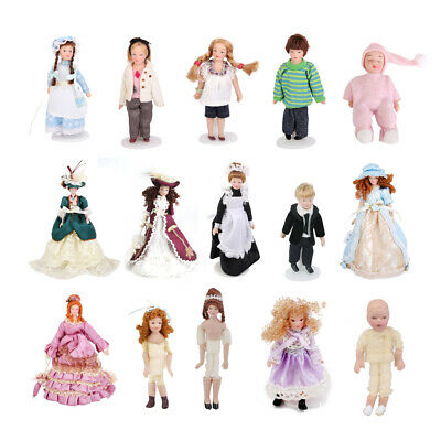 1:12 Doll House Miniature Figure Porcelain Doll Victorian Family People w/ Stand