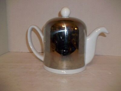 Vintage Mid Century Porcelain Teapot Stainless Insulated Cover Plastic Strainer