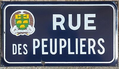 Old French enamel street sign road plaque Peupliers poplar trees Saint-Mathurin