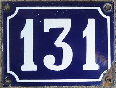 Large old French house number 131 door gate plate plaque enamel steel metal sign