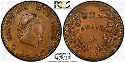 Mexico 1/4 Real 1838 Mo MS63 PCGS X#NC6 FINEST & ONLY RARE Privately Minted