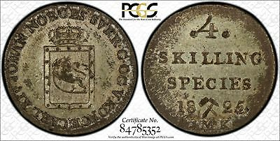Norway 4 Skilling 1825JMK AU55 PCGS silver KM#298 Lustrous Scarce Toned