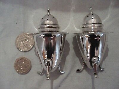 Pr Art Deco Salt & Pepper Shakers Sterling Silver Birmingham 1936