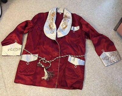 Vtg dragon lapel  design asian  Smoking Jacket Robe  Satin JapanPagoda Mens M