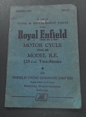 Royal Enfield Motor Cycle 1946-48-Model R.E. 125c.c-Spare & Replacment Part Book