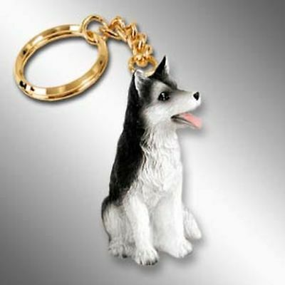 Husky Black and White Brown Eyes Dog Tiny One Resin Keychain Key Chain Ring