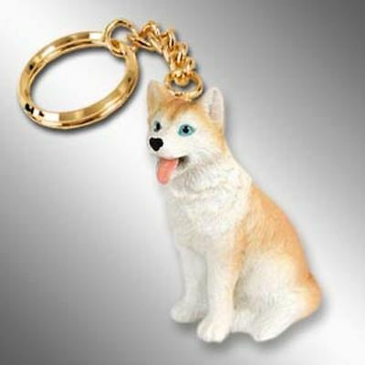 Husky Red and White Blue Eyes Dog Tiny One Resin Keychain Key Chain Ring