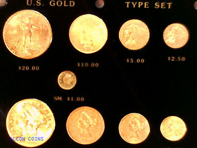 9 Coin Pre1933 Us Gold Coin Type Set  In Capital Plastics Holder Nice Look