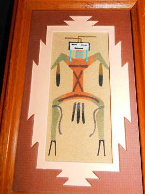 Vintage Native American NAVAJO Indian SAND ART PAINTING Matted Framed Signed