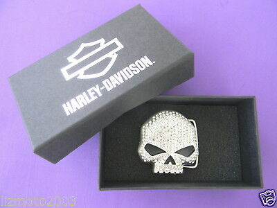 Harley Davidson WILLIE G.® SKULL Bling belt BUCKLE filled w/dazzling CRYSTALS