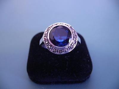 Created Sapphire & Marcasite Gemstone Ring - Sterling Silver - Size 9 / R.5 - 4G