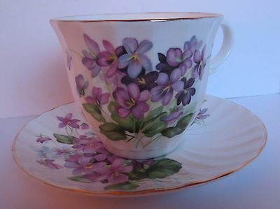 Royal Grafton Tea Cup & Saucer - Violets - Original Tag Attached