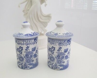 2 x SPODE - BLUE ROOM - Spice Jars - Grasshopper - Made in England