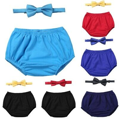 Infant Baby Boys Birthday Bloomer Shorts Necktie Cake Smash Photo Props Outfit