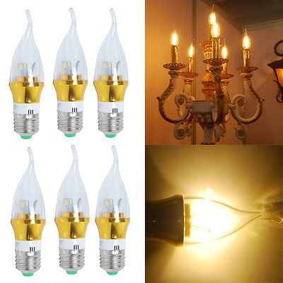 6Pcs E27 6W SMD Warm White Led Candle Light Bulb Candelabra Lamp Energy Lights