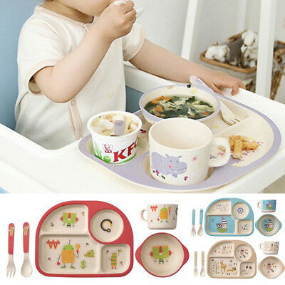 5pcs Bamboo Fiber Baby Bowl Dish Set Plate Cup Fork Spoon Safe Feeding Tableware