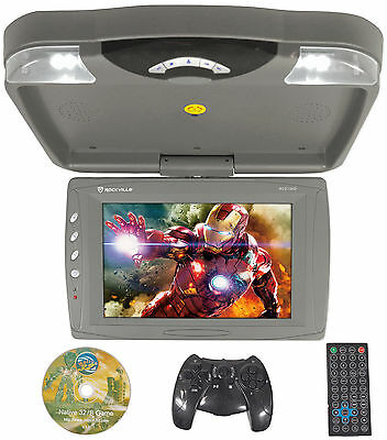 "Rockville RVD13HD-GR Grey 13"" Flip Down Car Monitor w DVD/HDMI/USB/SD/Games Gray"