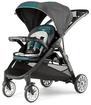 Chicco BravoFor2 LE Standing Sitting Quick-Fold Baby Double Stroller Eucalyptus