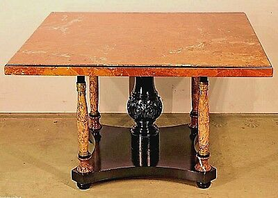Antique French Art Deco marble dining table seats 8 gilt bronze ormolu carved