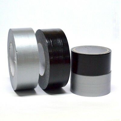 "Duct Gaffa Gaffer Waterproof Cloth Tape Silver and Black 48mm 2"" x 50m"