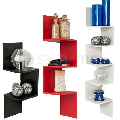 2/3/5 Tier Floating Wall Shelves Corner Shelf Storage Wood Display Bookcase Unit