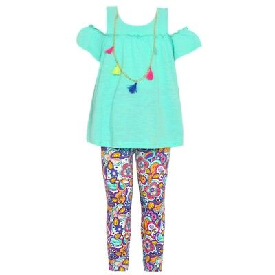 Big Girls Green Cold Shoulder Top Necklace Paisley Pants Outfit 12