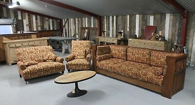 Victorian Oak Panelled 3 Peice Sofa, Pew & Armchair Set  |  Warwick Reclamation