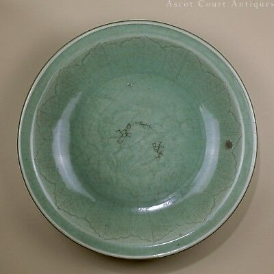 Antique Chinese 16th century Mid - Late Ming Longquan Celadon Charger Plate