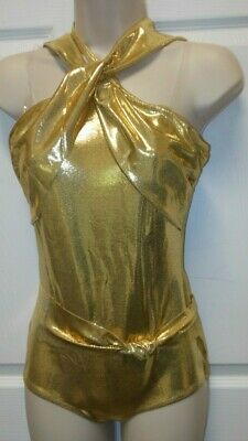 NWT DANCE COSTUME Gold Foil Metallic Leotard Tap Jazz Girls Extra Large Child